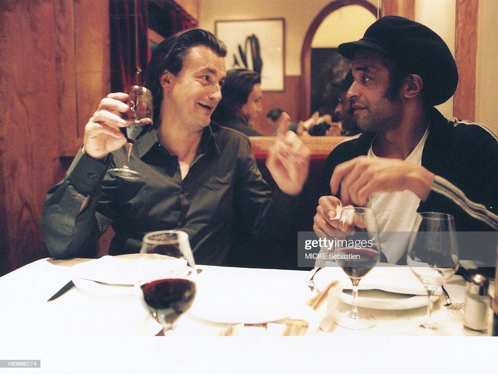 Henri Leconte And Yannick Noah In A Restaurant In Paris