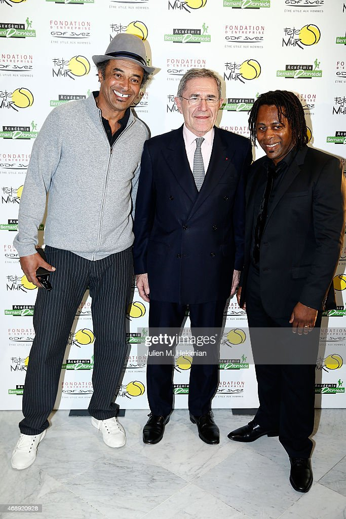 <a gi-track='captionPersonalityLinkClicked' href=/galleries/search?phrase=Yannick+Noah&family=editorial&specificpeople=215249 ng-click='$event.stopPropagation()'>Yannick Noah</a>, President of GDF-SUEZ <a gi-track='captionPersonalityLinkClicked' href=/galleries/search?phrase=Gerard+Mestrallet&family=editorial&specificpeople=585719 ng-click='$event.stopPropagation()'>Gerard Mestrallet</a> and Bernard Diomede attend the 'Sport Citoyen' Diner at UNESCO on April 8, 2015 in Paris, France.