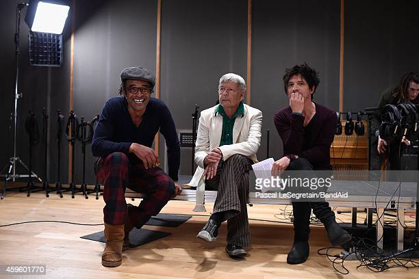 Yannick Noah Renaud and Nicola Sirkis attend the Band Aid 30 'Noel est la' Recording on November 23 2014 in Paris France