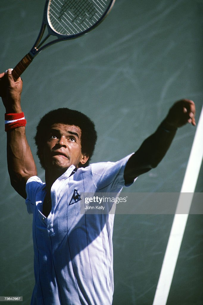 Yannick Noah serves at the US Open in 1982.