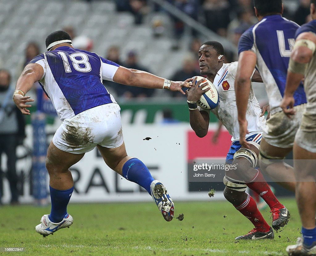 Yannick Nyanga of France in action during the Rugby Autumn International between France and Samoa at the Stade de France on November 24, 2012 in Paris, France.