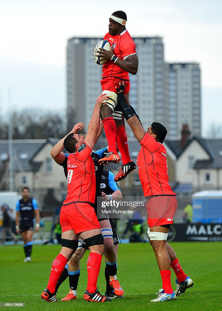Yannick Nyanga of Toulouse is held aloft during a line out during the European Rugby Champions Cup Pool 4 match between Glasgow Warriors and Toulouse...