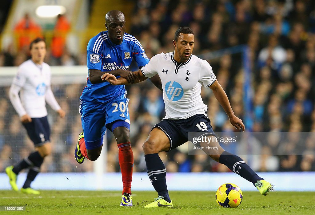 Yannick Sagbo of Hull City and Mousa Dembele of Spurs compete for the ball during the Barclays Premier League match between Tottenham Hotspur and Hull City at White Hart Lane on October 27, 2013 in London, England.