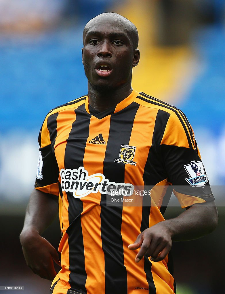 <a gi-track='captionPersonalityLinkClicked' href=/galleries/search?phrase=Yannick+Sagbo&family=editorial&specificpeople=6130628 ng-click='$event.stopPropagation()'>Yannick Sagbo</a> of Hull City looks on during the Barclays Premier League match between Chelsea and Hull City at Stamford Bridge on August 18, 2013 in London, England.