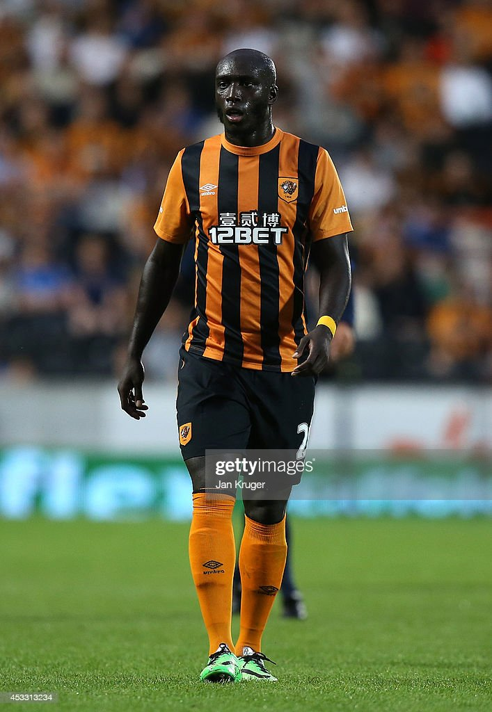 <a gi-track='captionPersonalityLinkClicked' href=/galleries/search?phrase=Yannick+Sagbo&family=editorial&specificpeople=6130628 ng-click='$event.stopPropagation()'>Yannick Sagbo</a> of Hull City looks on during the UEFA Europa League third qualifying round: second leg match between Hull City and AS Trencin at KC Stadium on August 7, 2014 in Hull, United Kingdom.