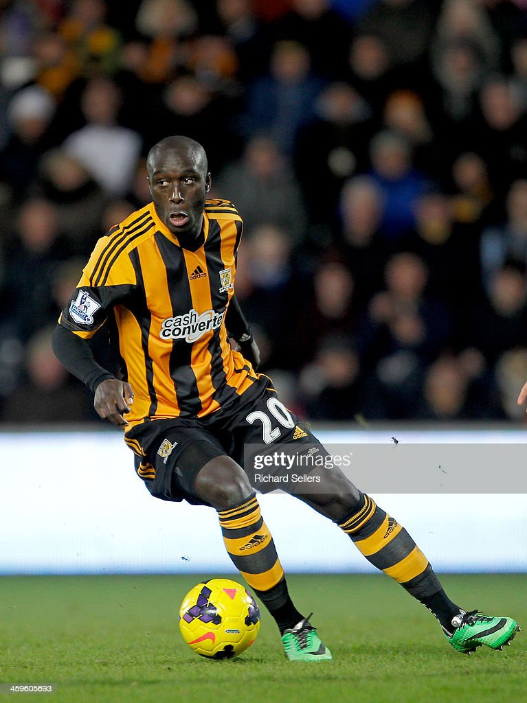 <a gi-track='captionPersonalityLinkClicked' href=/galleries/search?phrase=Yannick+Sagbo&family=editorial&specificpeople=6130628 ng-click='$event.stopPropagation()'>Yannick Sagbo</a> of Hull City on the ball during the Barclays Premier League match between Hull City and Fulham at KC stadium on December 28, 2013 in Hull, England.
