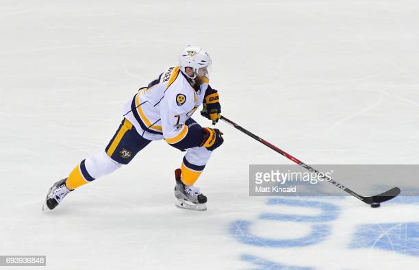 Yannick Weber of the Nashville Predators carries the puck against the Pittsburgh Penguins during the third period in Game Five of the 2017 NHL...