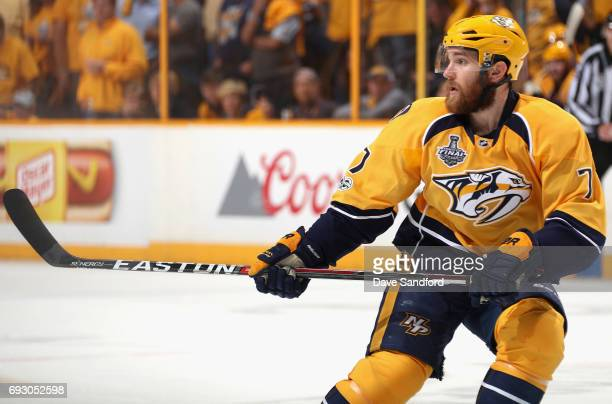 Yannick Weber of the Nashville Predators plays in Game Four of the 2017 NHL Stanley Cup Final at Bridgestone Arena against the Pittsburgh Penguins on...