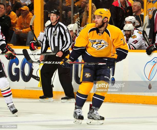 Yannick Weber of the Nashville Predators skates against the Chicago Blackhawks during the second period in Game Four of the Western Conference First...