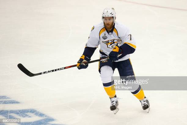 Yannick Weber of the Nashville Predators skates against the Pittsburgh Penguins in Game One of the 2017 NHL Stanley Cup Final at PPG Paints Arena on...
