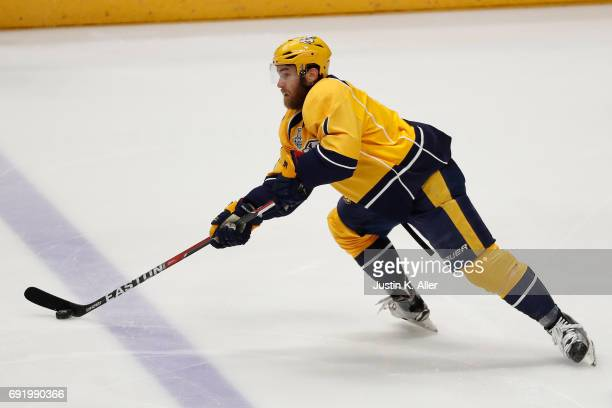 Yannick Weber of the Nashville Predators skates against the Pittsburgh Penguins during the first period in Game Three of the 2017 NHL Stanley Cup...