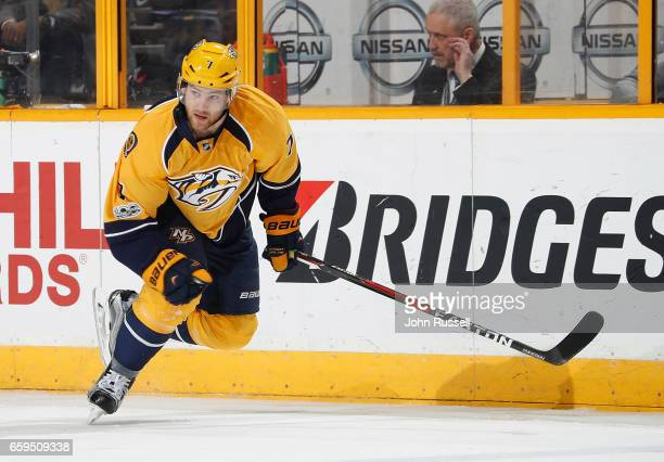 Yannick Weber of the Nashville Predators skates against the San Jose Sharks during an NHL game at Bridgestone Arena on March 25 2017 in Nashville...