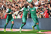 Yannik Vestergaard of Bremen celebrates scoring his goal with Anthony Ujah during the Bundesliga match between Werder Bremen and Borussia...