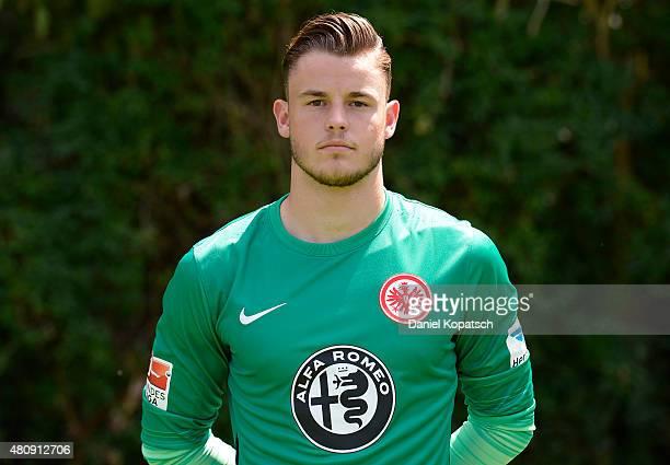 Yannik Zummack poses during the Eintracht Frankfurt team presentation on July 15 2015 in Frankfurt am Main Germany