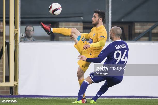 Yannis Gianniotas of Apoel FC Sofiane Hanni of RSC Anderlechtduring the UEFA Europa League round of 16 match between RSC Anderlecht and APOEL on...