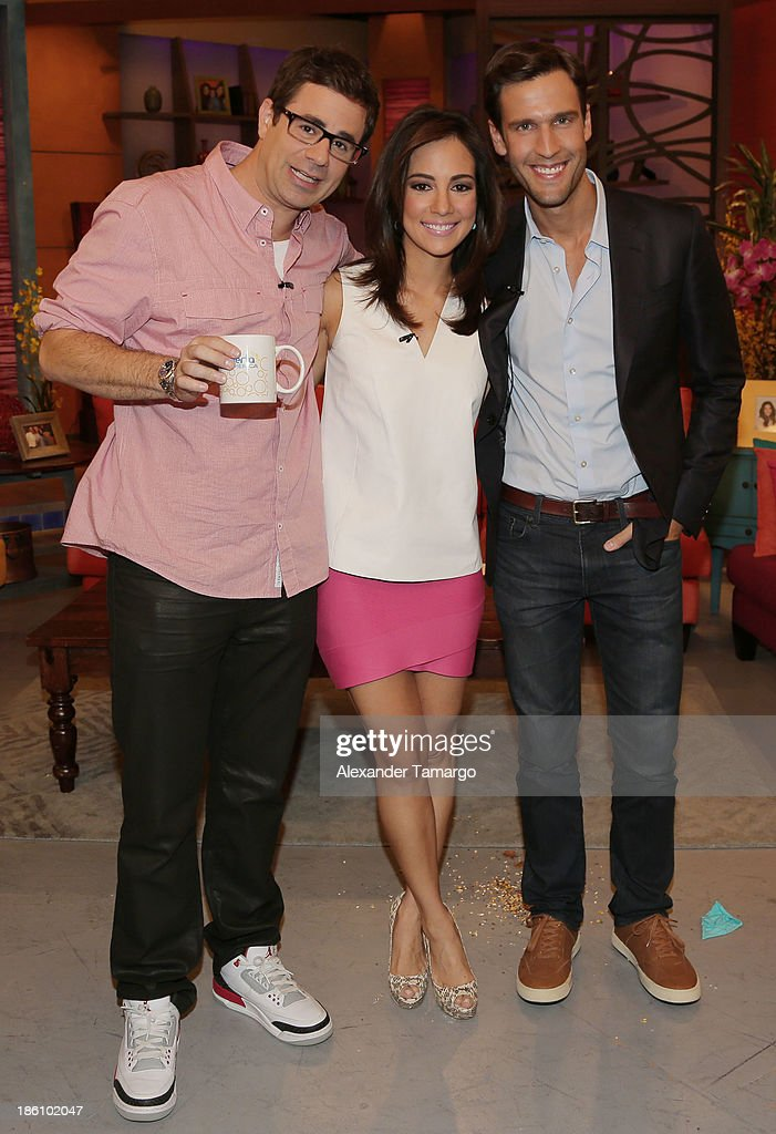 Yannis Pappas, Mariana Atencio and Pedro Andrade are seen on the set of Despierta America for simulcast with 'Good Morning America' and Fusion's the Morning Show' at Univision Headquarters on October 28, 2013 in Miami, Florida.