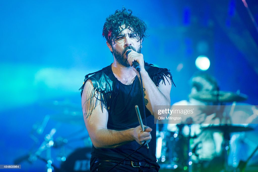 Yannis Phiippakis of Foals performs headlining the main stage on Day 3 of Bestival at Robin Hill Country Park on September 6 2014 in Newport Isle of...