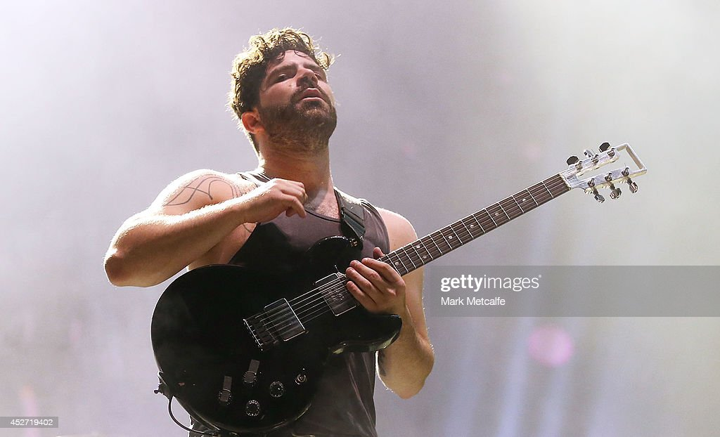 Yannis Phiippakis of Foals performs on stage at Splendour In the Grass 2014 on July 26 2014 in Byron Bay Australia