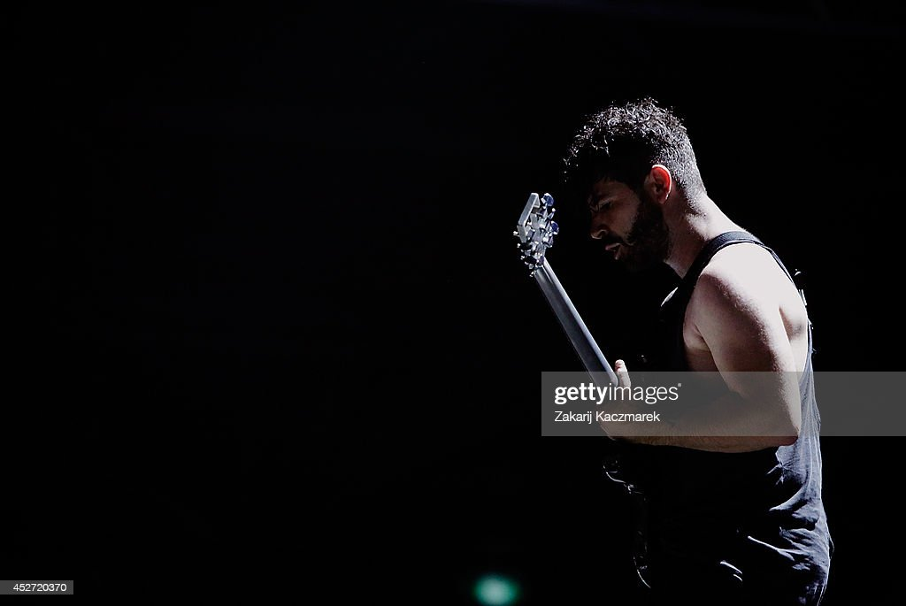 Yannis Phiippakis of Foals performs on stage at Splendour In the Grass 2014 on July 26, 2014 in Byron Bay, Australia.