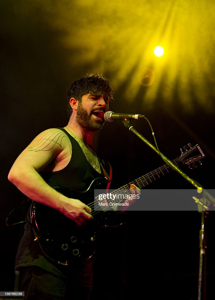 <a gi-track='captionPersonalityLinkClicked' href=/galleries/search?phrase=Yannis+Philippakis&family=editorial&specificpeople=4453909 ng-click='$event.stopPropagation()'>Yannis Philippakis</a> from Foals performs live on stage at Big Day Out 2013 on January 20, 2013 in Gold Coast, Australia.