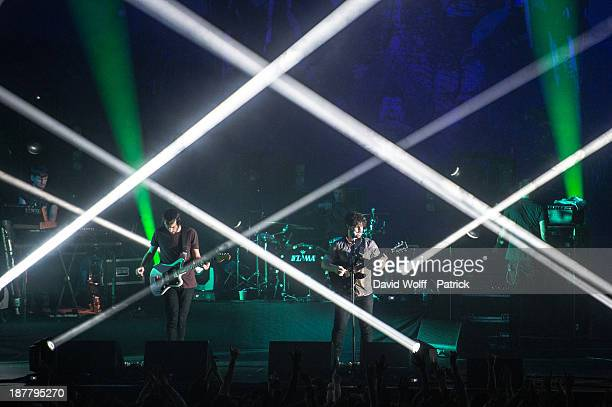 Yannis Philippakis Jack Bevan Jimmy Smith Edwin Congreave and Walter Gervers from Foals perform at Les Inrocks Festival at Zenith de Paris on...
