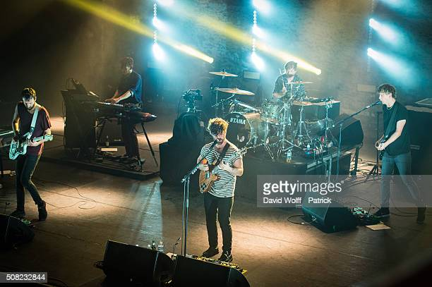Yannis Philippakis Jack Bevan Jimmy Smith Walter Gervers and Edwin Congreave from Foals perform at l' Olympia on February 3 2016 in Paris France