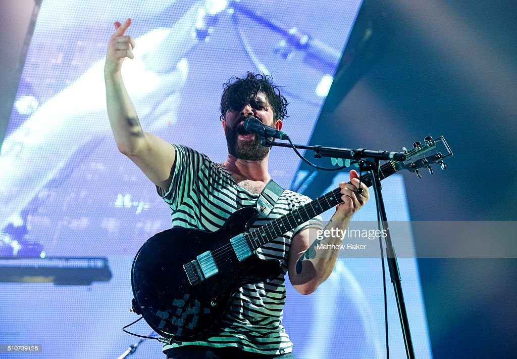 Yannis Philippakis of Foals performs at the SSE Arena Wembley on February 16 2016 in London England