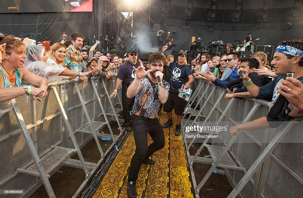 Yannis Philippakis of Foals performs during 2016 Lollapalooza Day Two at Grant Park on July 29 2016 in Chicago Illinois