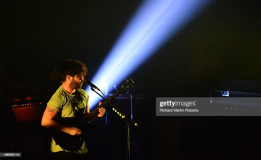 Yannis Philippakis of Foals performs on stage at Liverpool Olympia on November 6 2015 in Liverpool England