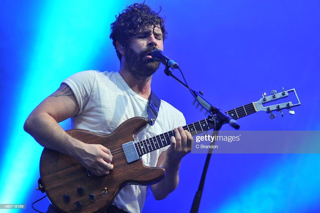 Yannis Philippakis of Foals performs on stage during the 2nd Day of the Reading Festival at Richfield Avenue on August 29, 2015 in Reading, England.