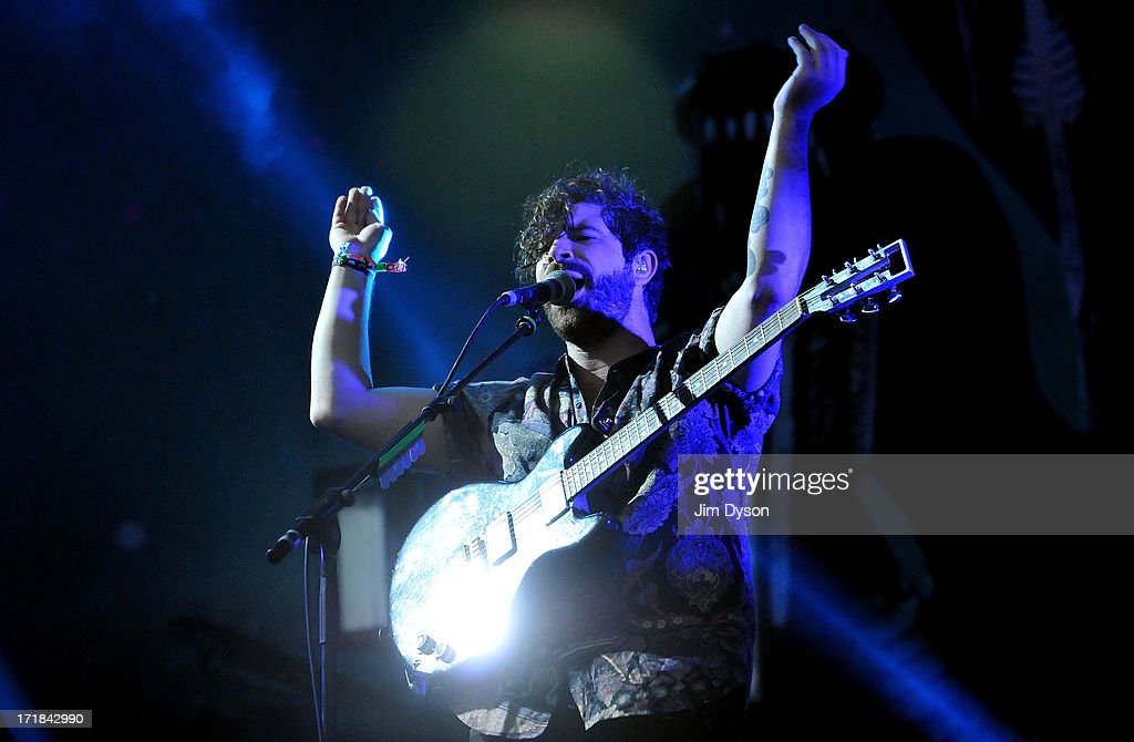 <a gi-track='captionPersonalityLinkClicked' href=/galleries/search?phrase=Yannis+Philippakis&family=editorial&specificpeople=4453909 ng-click='$event.stopPropagation()'>Yannis Philippakis</a> of Foals performs on the Other stage during day 2 of the 2013 Glastonbury Festival at Worthy Farm on June 28, 2013 in Glastonbury, England.