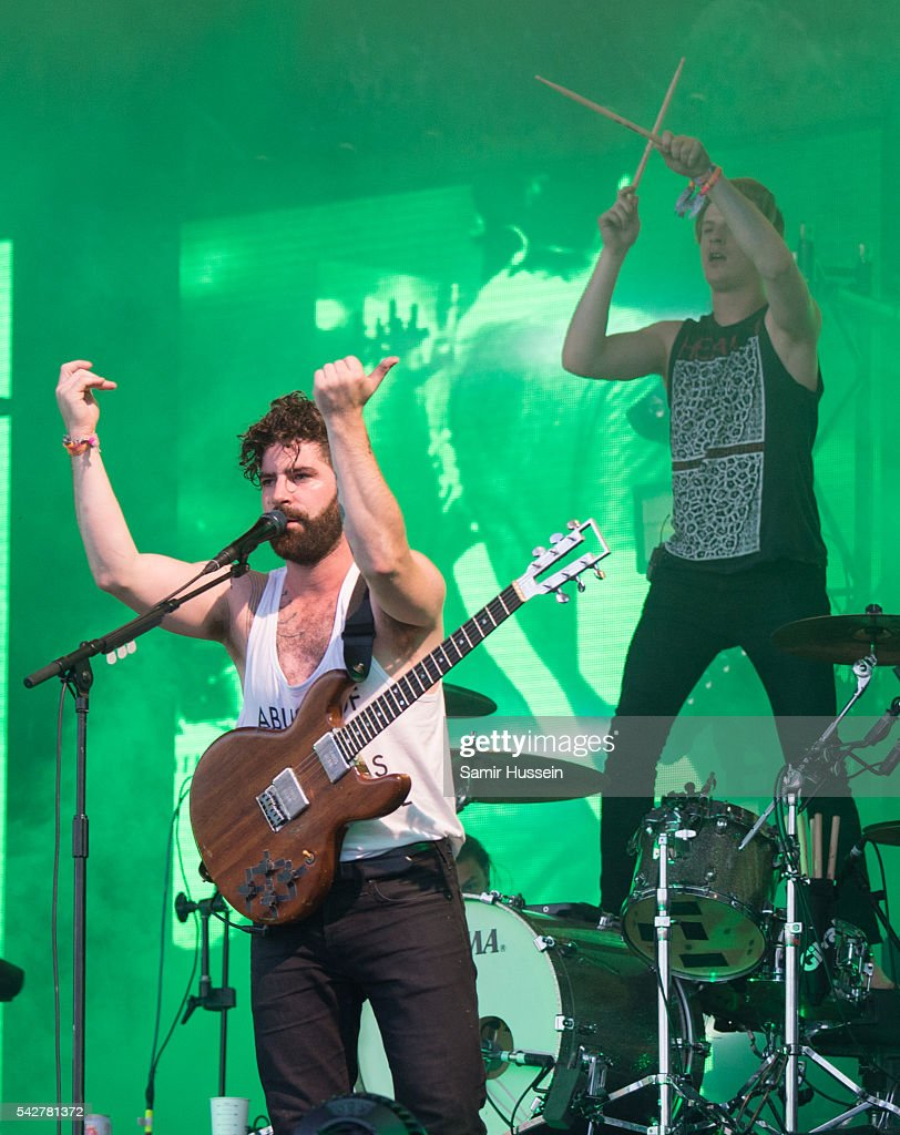 <a gi-track='captionPersonalityLinkClicked' href=/galleries/search?phrase=Yannis+Philippakis&family=editorial&specificpeople=4453909 ng-click='$event.stopPropagation()'>Yannis Philippakis</a> of Foals performs on the Pyramid Stage Glastonbury Festival 2016 at Worthy Farm, Pilton on June 24, 2016 in Glastonbury, England.