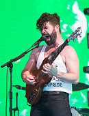 Yannis Philippakis of Foals performs on the Pyramid Stage Glastonbury Festival 2016 at Worthy Farm Pilton on June 24 2016 in Glastonbury England