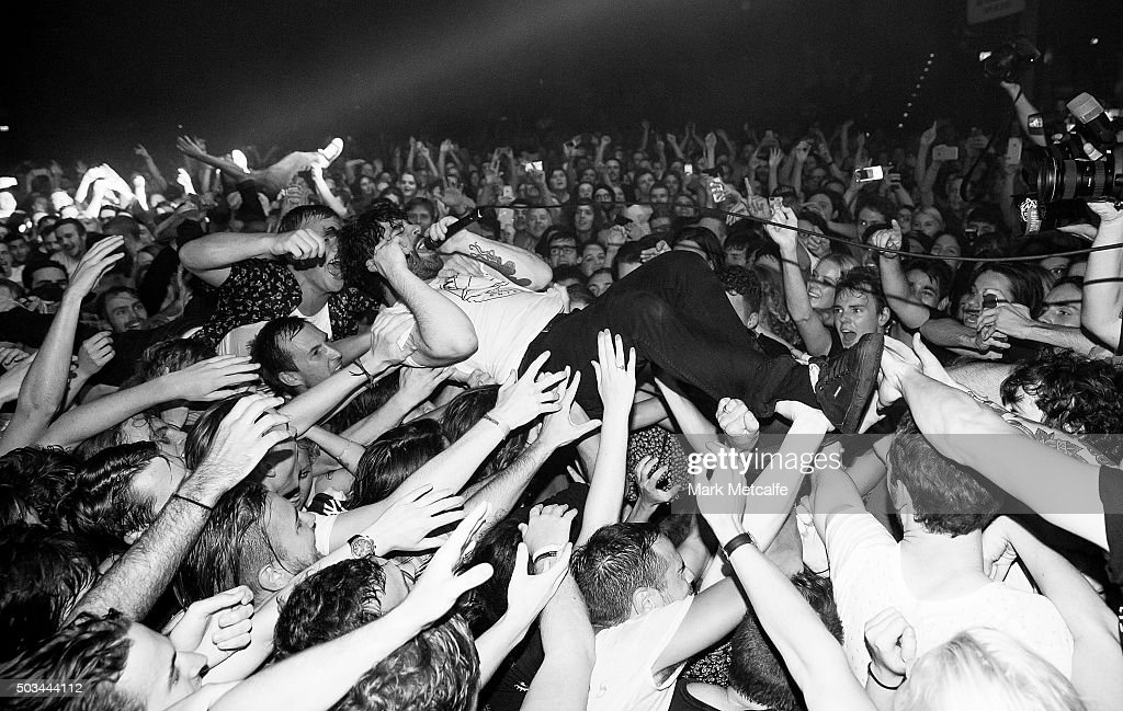 Yannis Philippakis of the band Foals performs at Hordern Pavilion on January 5 2016 in Sydney Australia