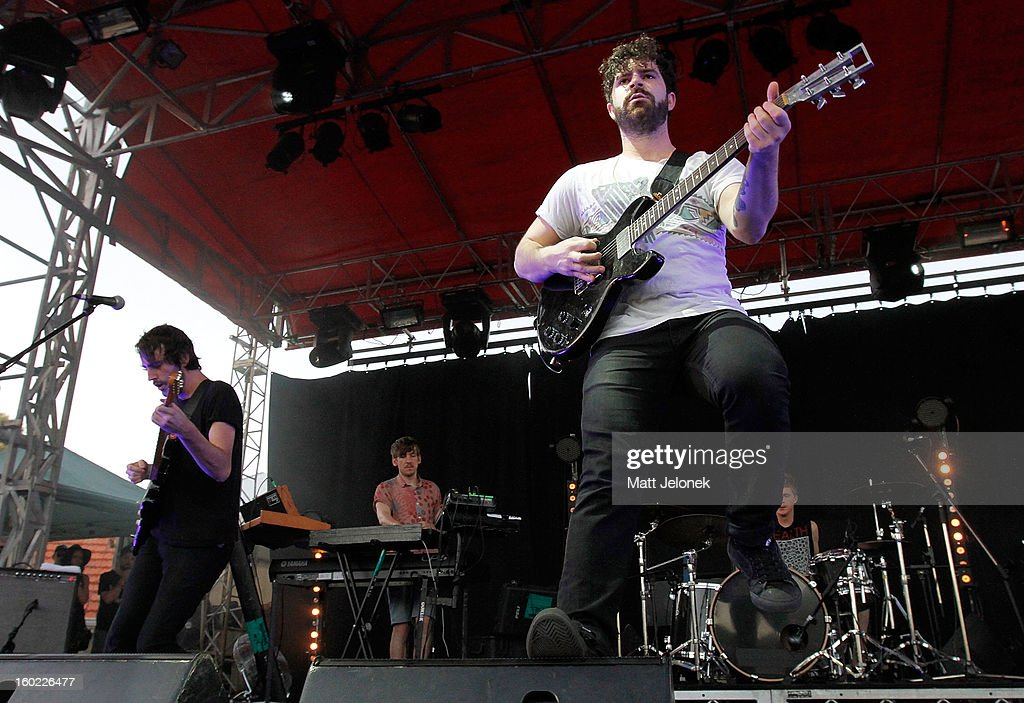 <a gi-track='captionPersonalityLinkClicked' href=/galleries/search?phrase=Yannis+Philippakis&family=editorial&specificpeople=4453909 ng-click='$event.stopPropagation()'>Yannis Philippakis</a> of the band Foals performs during Big Day Out at Claremont Showgrounds on January 28, 2013 in Perth, Australia.