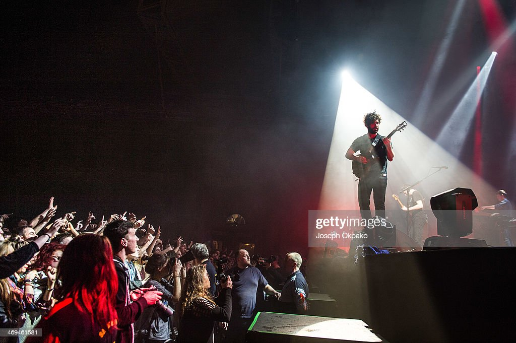 Yannis Philippakis of The Foals performs at Alexandra Palace on February 14 2014 in London England