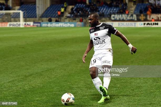Yannis Salibur of Guigamp during the French Ligue 1 match between Montpellier and Guingamp at Stade de la Mosson on March 4 2017 in Montpellier France