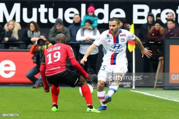 Yannis Salibur of Guingamp and Jeremy Morel of Lyon during the Ligue 1 match between En Avant Guingamp and Olympique Lyonnais Lyon at Stade du...
