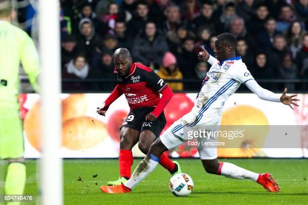Yannis Salibur of Guingamp and Mouctar Diakhaby of Lyon during the Ligue 1 match between En Avant Guingamp and Olympique Lyonnais Lyon at Stade du...