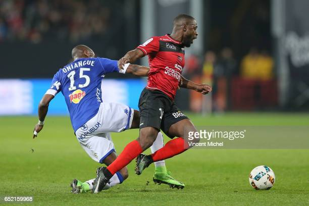 Yannis Salibur of Guingamp and Prince Oniangue of Bastia during the Ligue 1 match between EA Guingamp and SC Bastia at Stade du Roudourou on March 11...