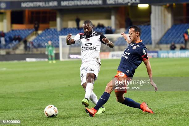 Yannis Salibur of Guingamp and Vitorino Hilton of Montpellier during the French Ligue 1 match between Montpellier and Guingamp at Stade de la Mosson...