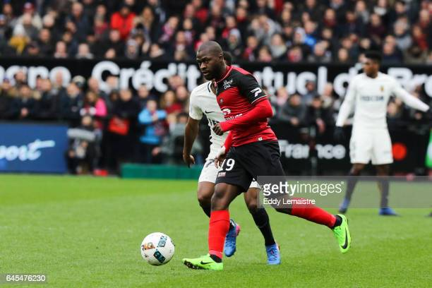 Yannis Salibur of Guingamp during the French Ligue 1 match between Guingamp and Monaco at Stade du Roudourou on February 25 2017 in Guingamp France