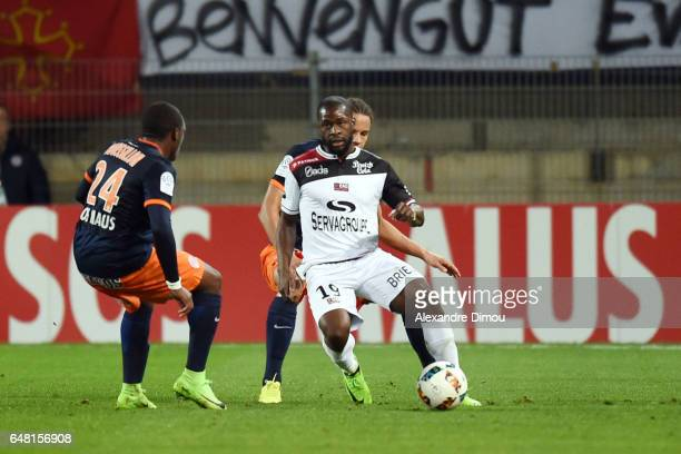 Yannis Salibur of Guingamp during the French Ligue 1 match between Montpellier and Guingamp at Stade de la Mosson on March 4 2017 in Montpellier...