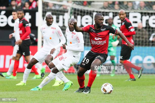 Yannis Salibur of Guingamp during the French Ligue 1 match between Guingamp and Nancy at Stade du Roudourou on March 31 2017 in Guingamp France