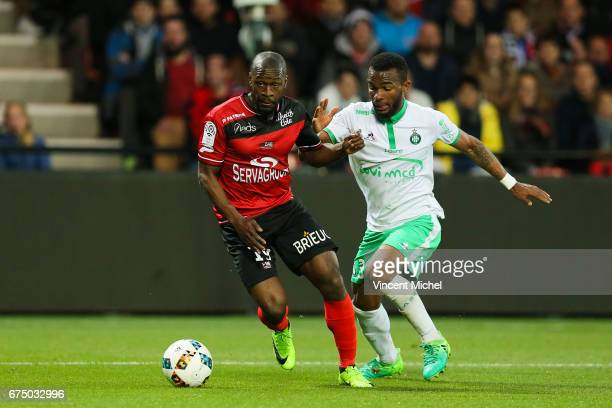 Yannis Salibur of Guingamp during the French Ligue 1 match between Guingamp and Saint Etienne at Stade du Roudourou on April 29 2017 in Guingamp...