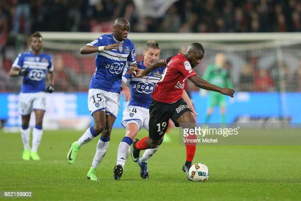 Yannis Salibur of Guingamp during the Ligue 1 match between EA Guingamp and SC Bastia at Stade du Roudourou on March 11 2017 in Guingamp France