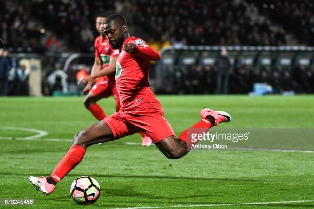 Yannis Salibur of Guingamp during the Semi final of the French Cup match between Angers and Guingamp at Stade Jean Bouin on April 25 2017 in Angers...
