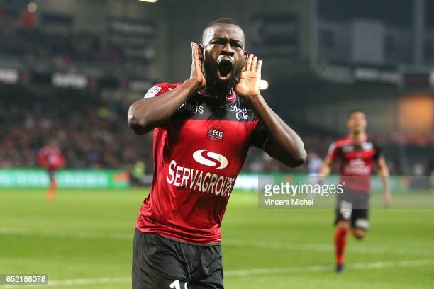Yannis Salibur of Guingamp jubilates as he scores the first goal during the Ligue 1 match between EA Guingamp and SC Bastia at Stade du Roudourou on...