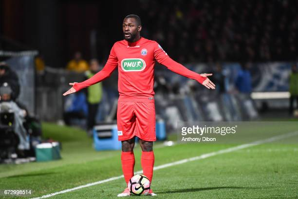 Yannis Salibur of Guingamp looks dejected during the Semi final of the French Cup match between Angers and Guingamp at Stade Jean Bouin on April 25...