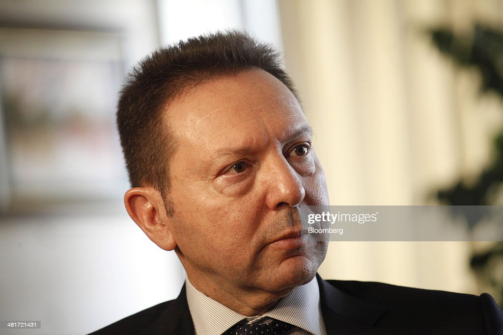 <a gi-track='captionPersonalityLinkClicked' href=/galleries/search?phrase=Yannis+Stournaras&family=editorial&specificpeople=9497239 ng-click='$event.stopPropagation()'>Yannis Stournaras</a>, Greece's finance minister, pauses during a Bloomberg Television interview at the Ministry of Finance offices in Athens, Greece, on Monday, March 31, 2014. The European Commission predicts the Greek economy will grow in 2014 for the first time in seven years, and the nation is now looking to start selling debt again next month after achieving a budget surplus last year. Photographer: Kostas Tsironis/Bloomberg via Getty Images